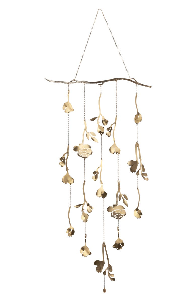 ARIANA OST Floral Wall Hanging, Main, color, GOLD
