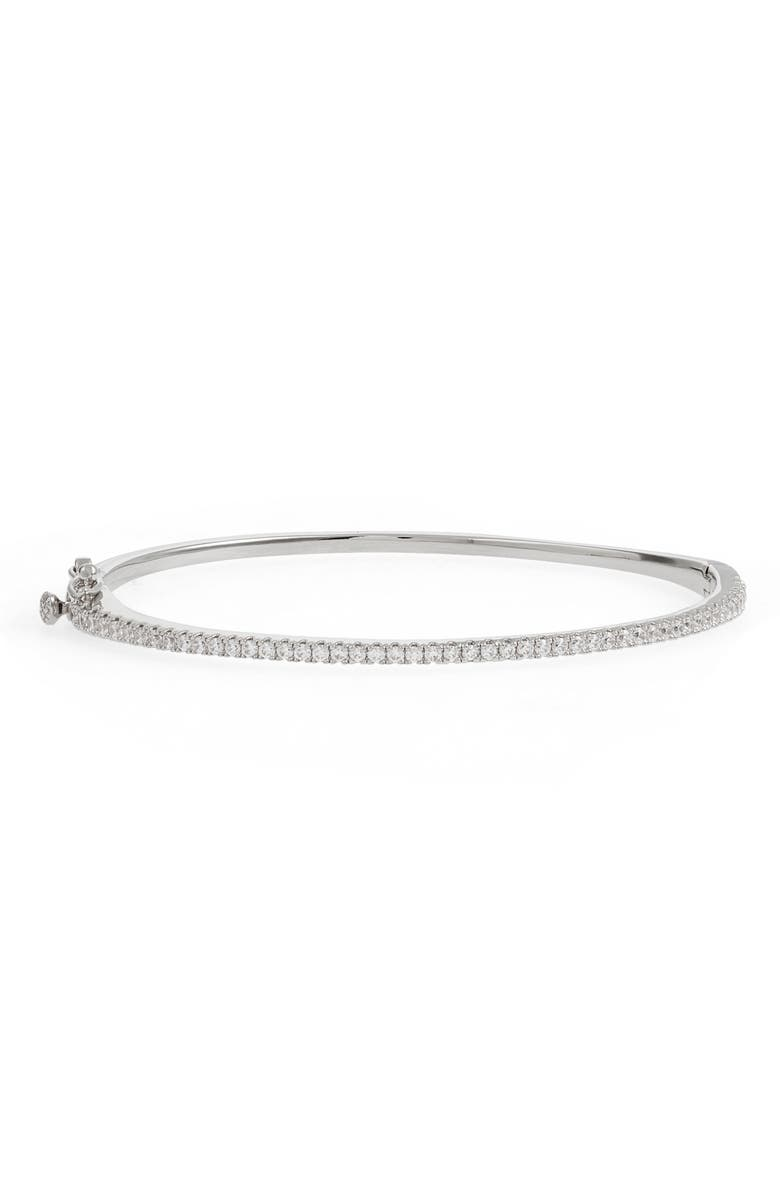 NORDSTROM Delicate Cubic Zirconia Bangle, Main, color, CLEAR- SILVER