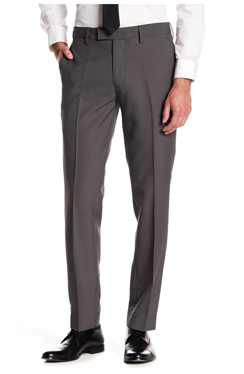 """LOUIS RAPHAEL Stretch Micro Check Print Trousers - 30-34"""" Inseam, Main, color, GREY"""