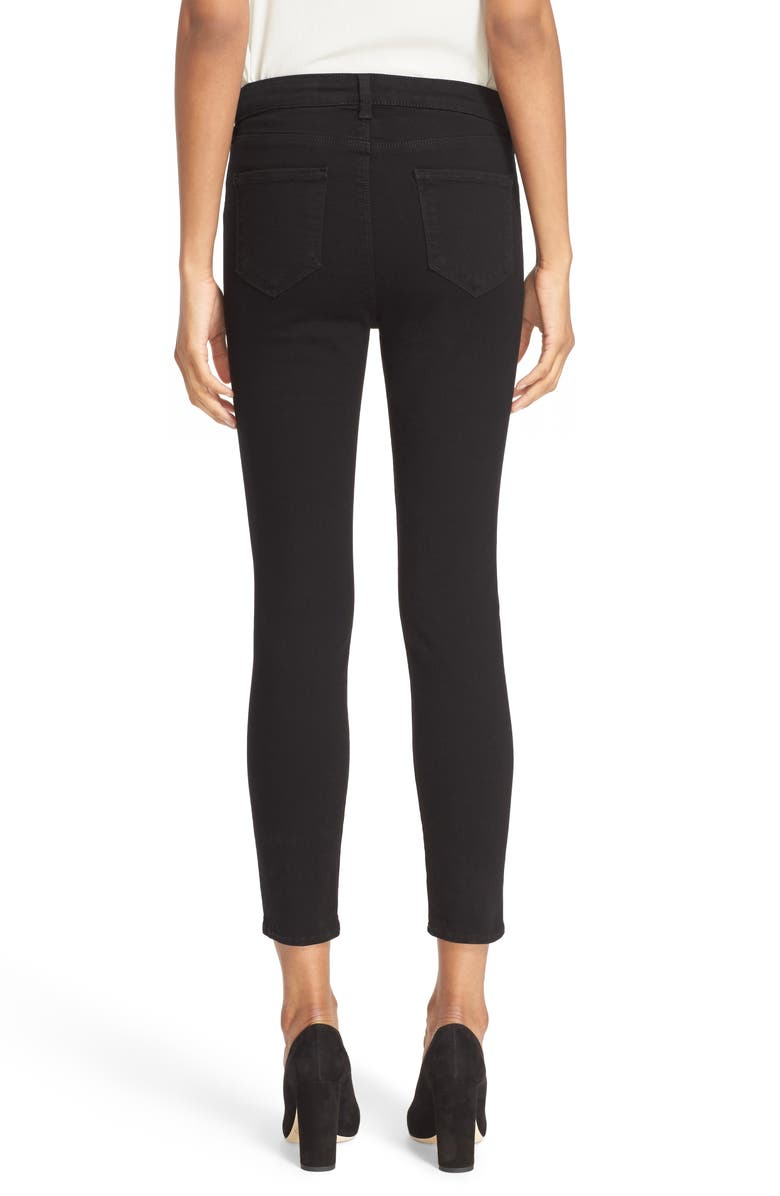 L'AGENCE Margot High Waist Crop Jeans, Main, color, NOIR