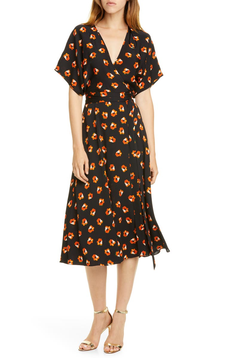 DVF Kelsey Floral Stretch Silk Wrap Dress, Main, color, 001