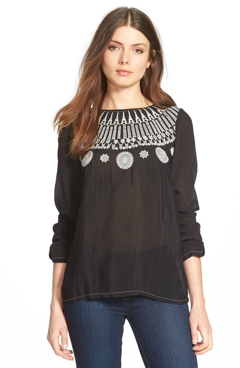 PLENTY BY TRACY REESE Embroidered Blouse, Main, color, Black