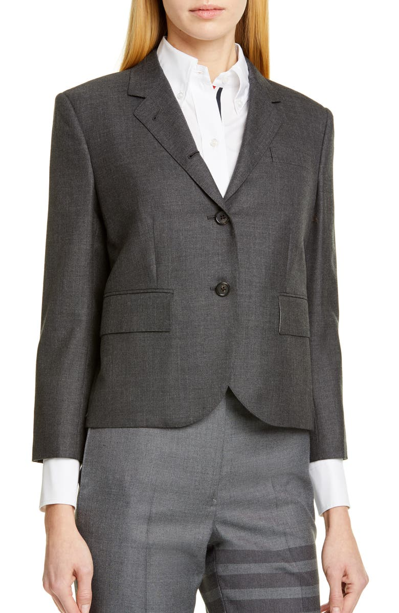 THOM BROWNE Shrunken Wool Blazer, Main, color, 025
