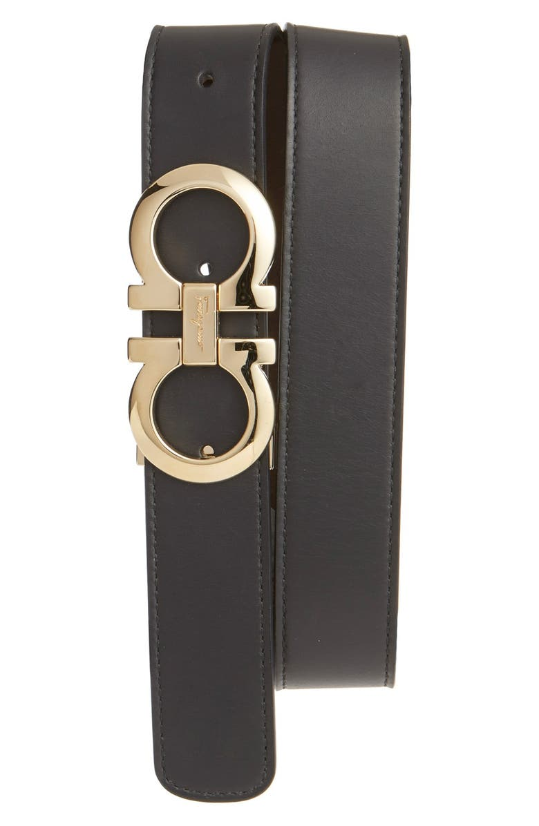 SALVATORE FERRAGAMO Reversible Leather Belt, Main, color, NERO/ HICKORY