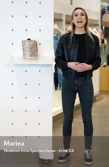 Nolita Ring Handle Snake Embossed Leather Clutch, sales video thumbnail