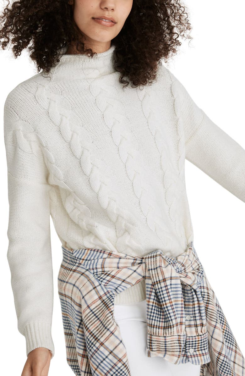 MADEWELL Grenville Cable Mock Neck Sweater, Main, color, ANTIQUE CREAM