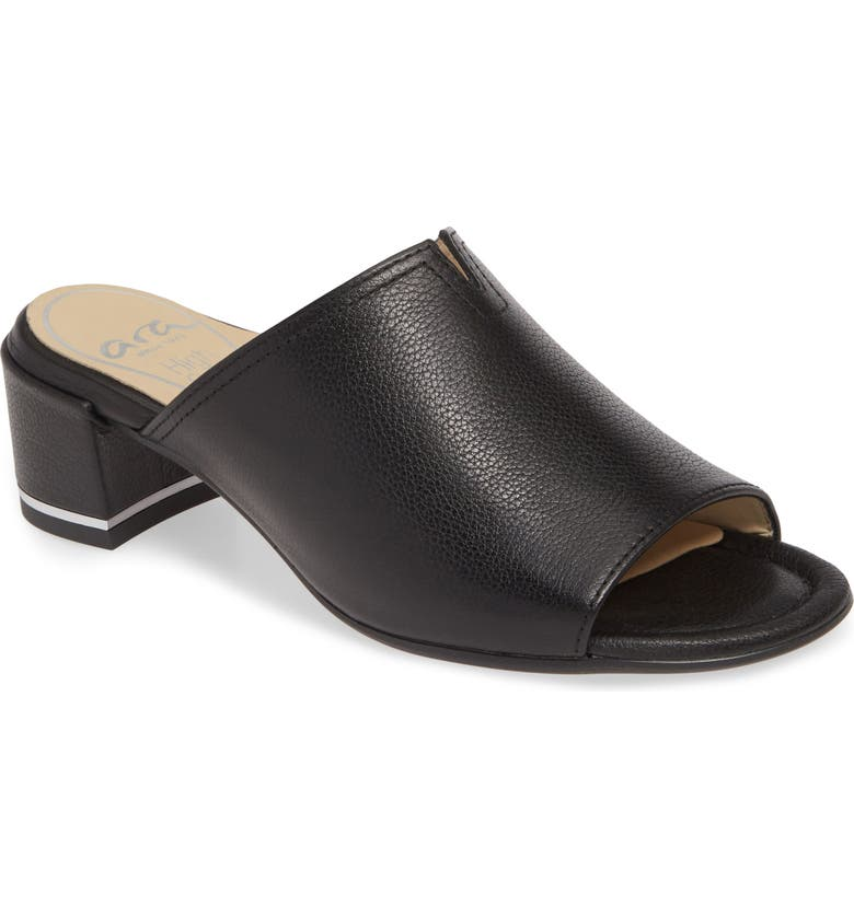 ARA Gerty Notch Vamp Slide Sandal, Main, color, BLACK INDIO LEATHER