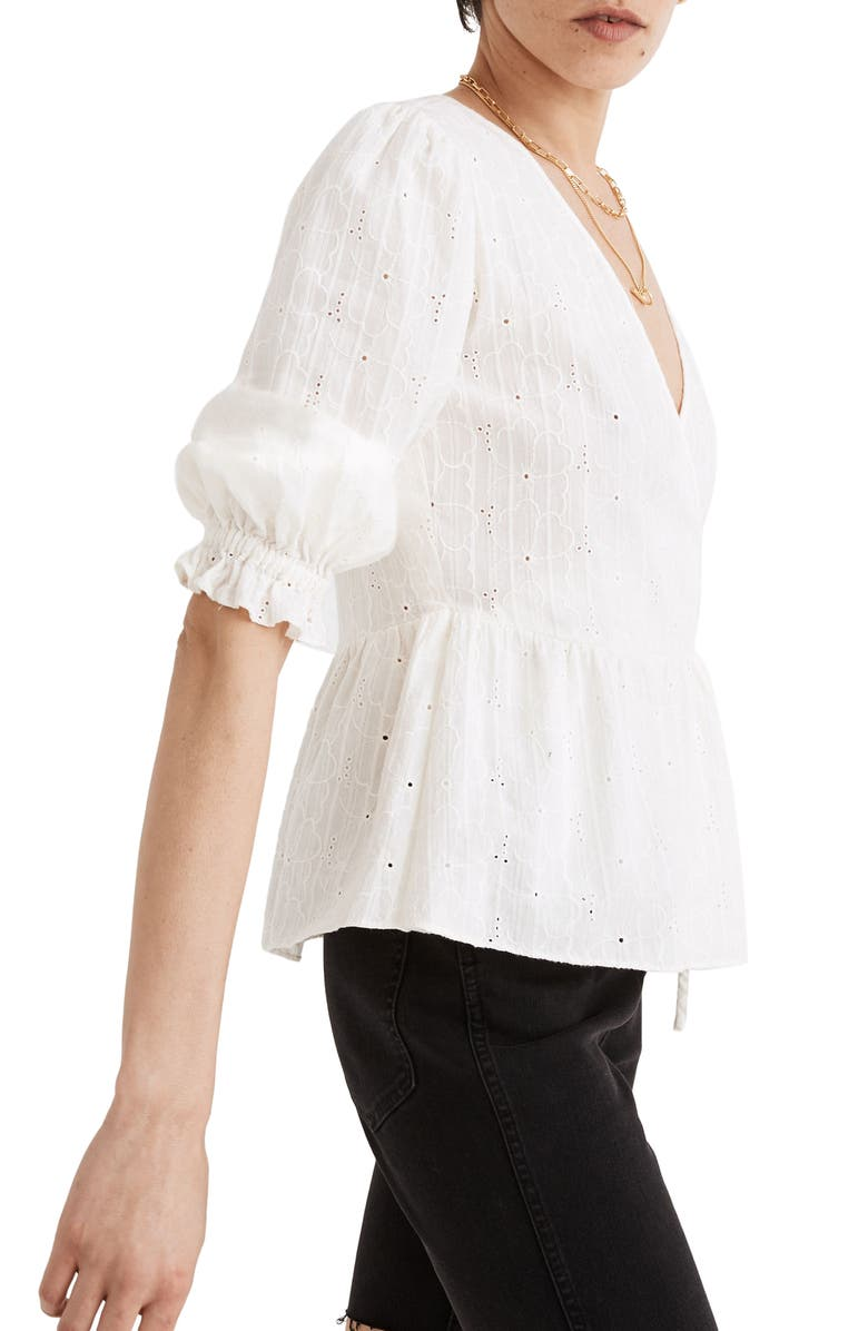 MADEWELL Embroidered Eyelet Puff Sleeve Peplum Wrap Top, Main, color, LIGHTHOUSE