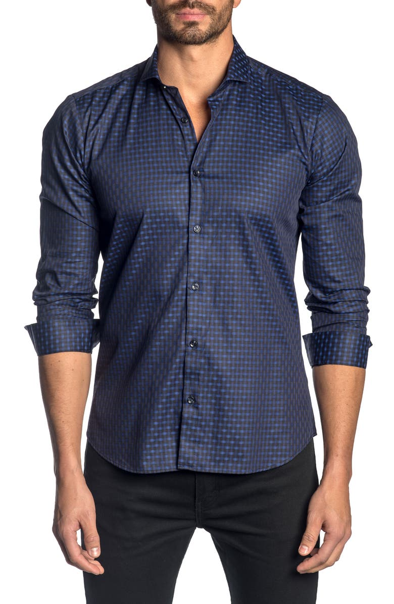 JARED LANG Slim Fit Check Button-Up Sport Shirt, Main, color, 001