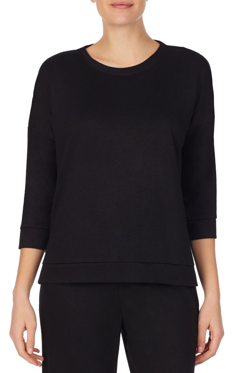 REFINERY29 Double Knit High/Low Pullover, Main, color, BLACK