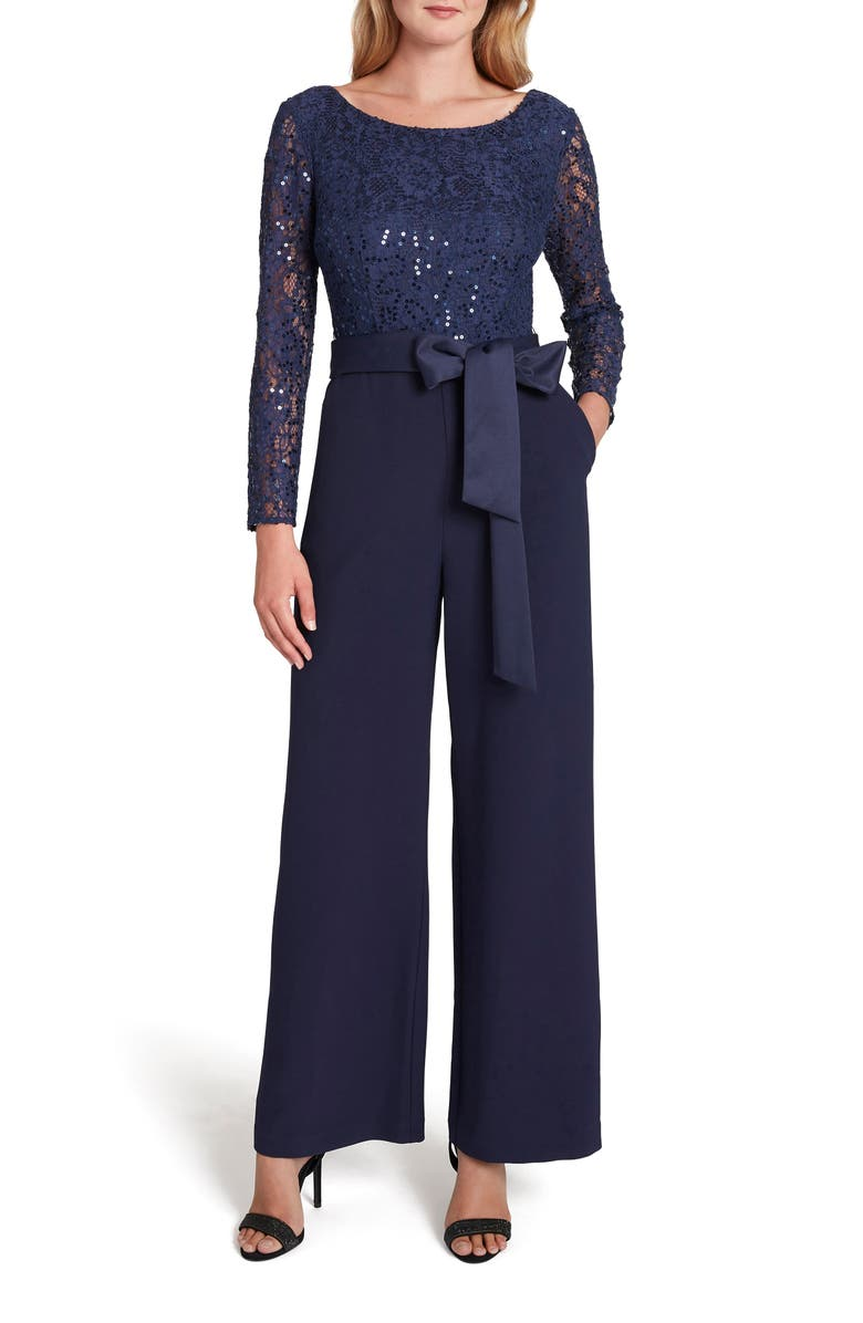 TAHARI Stretch Lace & Crepe Long Sleeve Jumpsuit, Main, color, MIDNIGHT NAVY