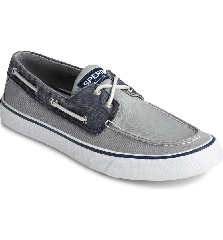 SPERRY Bahama II Boat Shoe, Main, color, GREY/ NAVY
