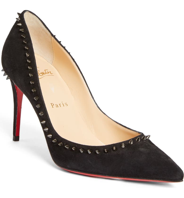 CHRISTIAN LOUBOUTIN Anjalina Studded Pointed Toe Pump, Main, color, BLACK SUEDE