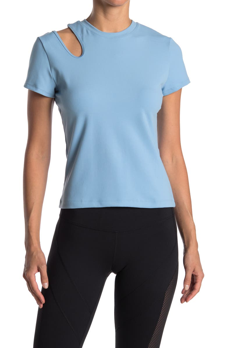 NINE WEST Short Sleeve Fitted Cutout Top, Main, color, DUSK BLUE