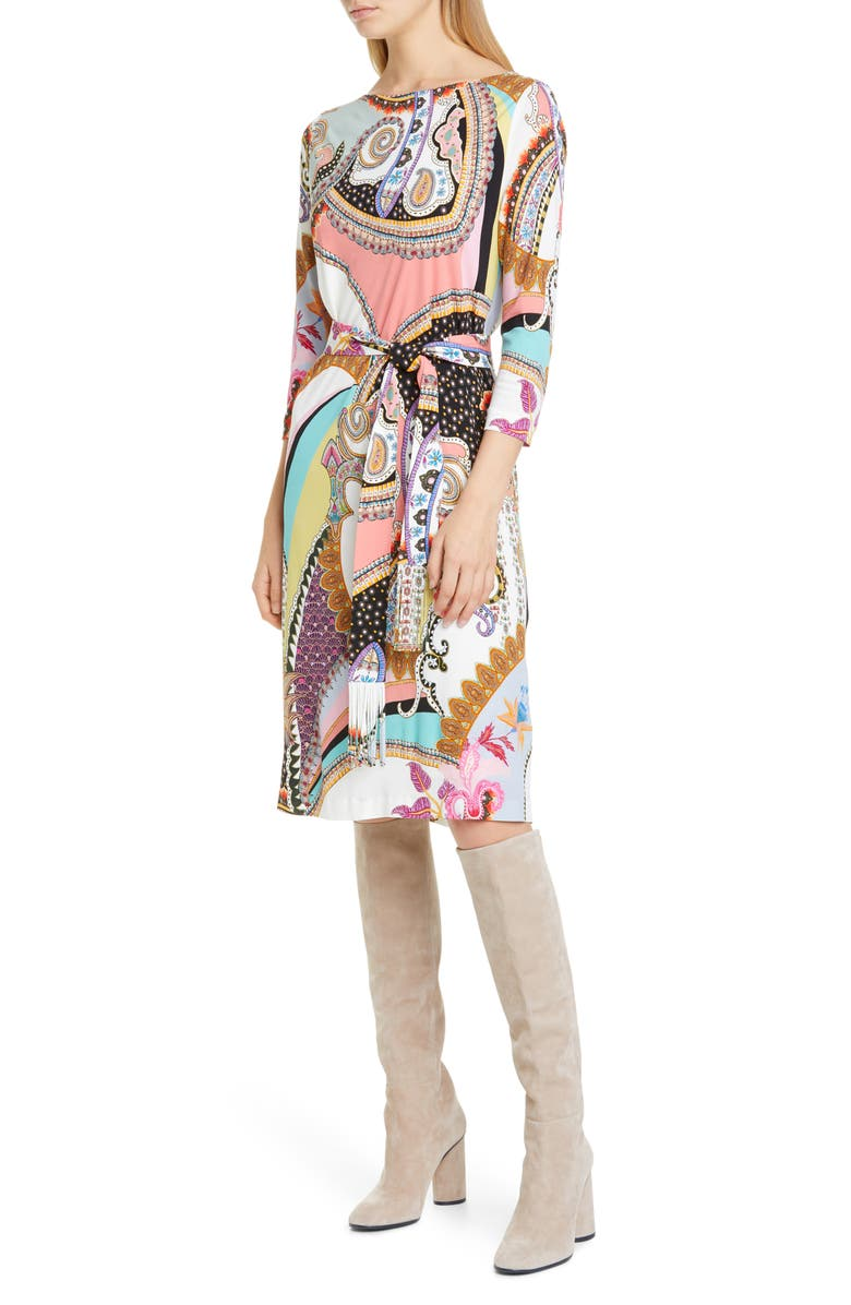 ETRO Paisley Print Jersey Dress, Main, color, 100