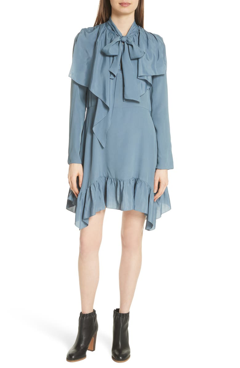 SEE BY CHLOÉ Tie Neck Ruffle Hem Dress, Main, color, MIRAGE BLUE