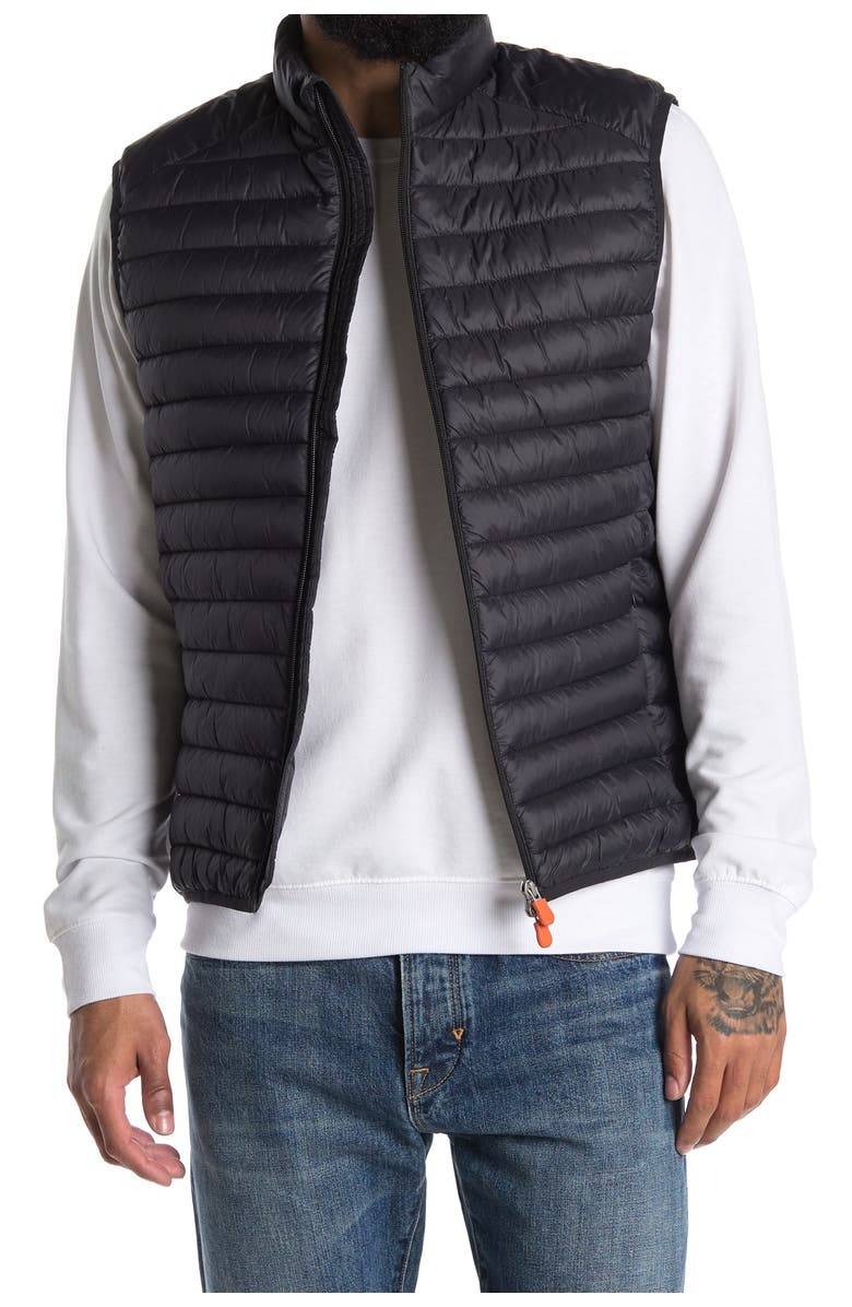 SAVE THE DUCK Adam Channel Quilted Puffer Vest, Main, color, BLACK