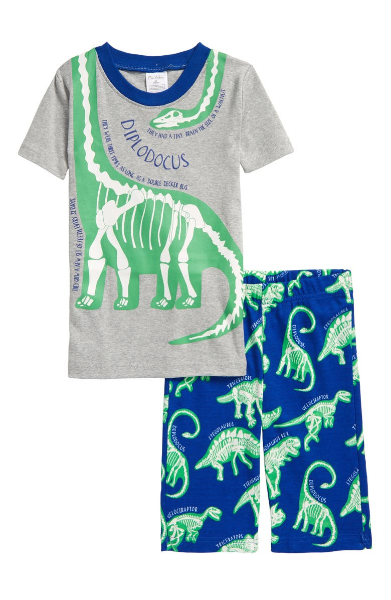 MINI BODEN Kids' Glow in the Dark Fitted Two-Piece Short Pajamas, Main, color, GREY MARL/ BRILLIANT BLUE