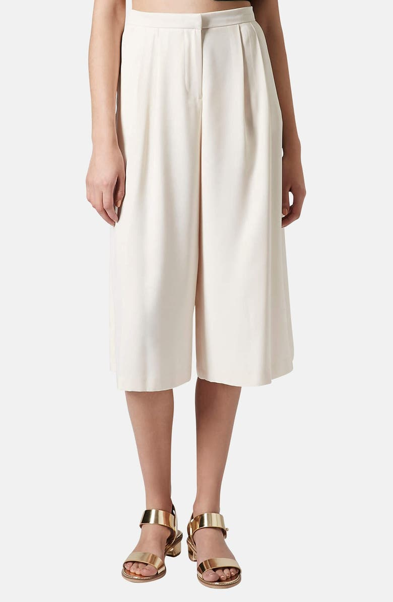 TOPSHOP Pleated Crepe Culottes, Main, color, NUDE