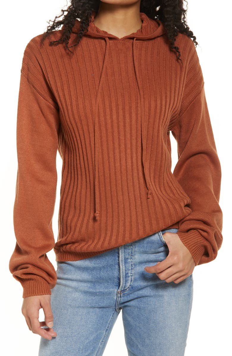 SNDYS Hendrix Ribbed Oversize Hoodie, Main, color, Brown