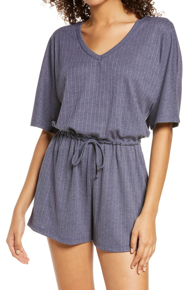 SOCIALITE Ribbed Lounge Romper, Main, color, NAVY