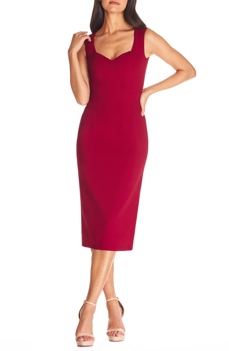 DRESS THE POPULATION Elle Sheath, Main, color, GARNET