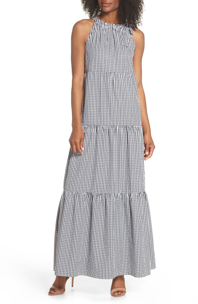 MAGGY LONDON Gingham Check Maxi Dress, Main, color, 100