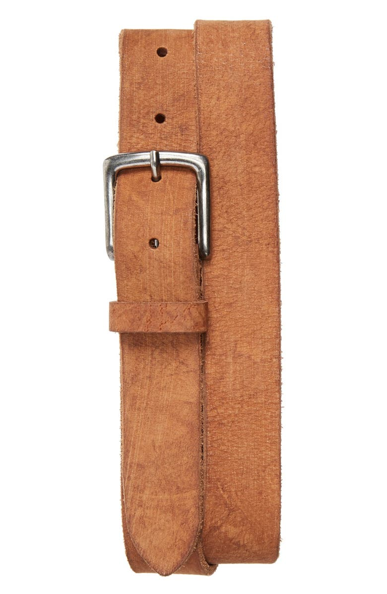 TOPMAN Oil Tanned Skinny Leather Belt, Main, color, 210