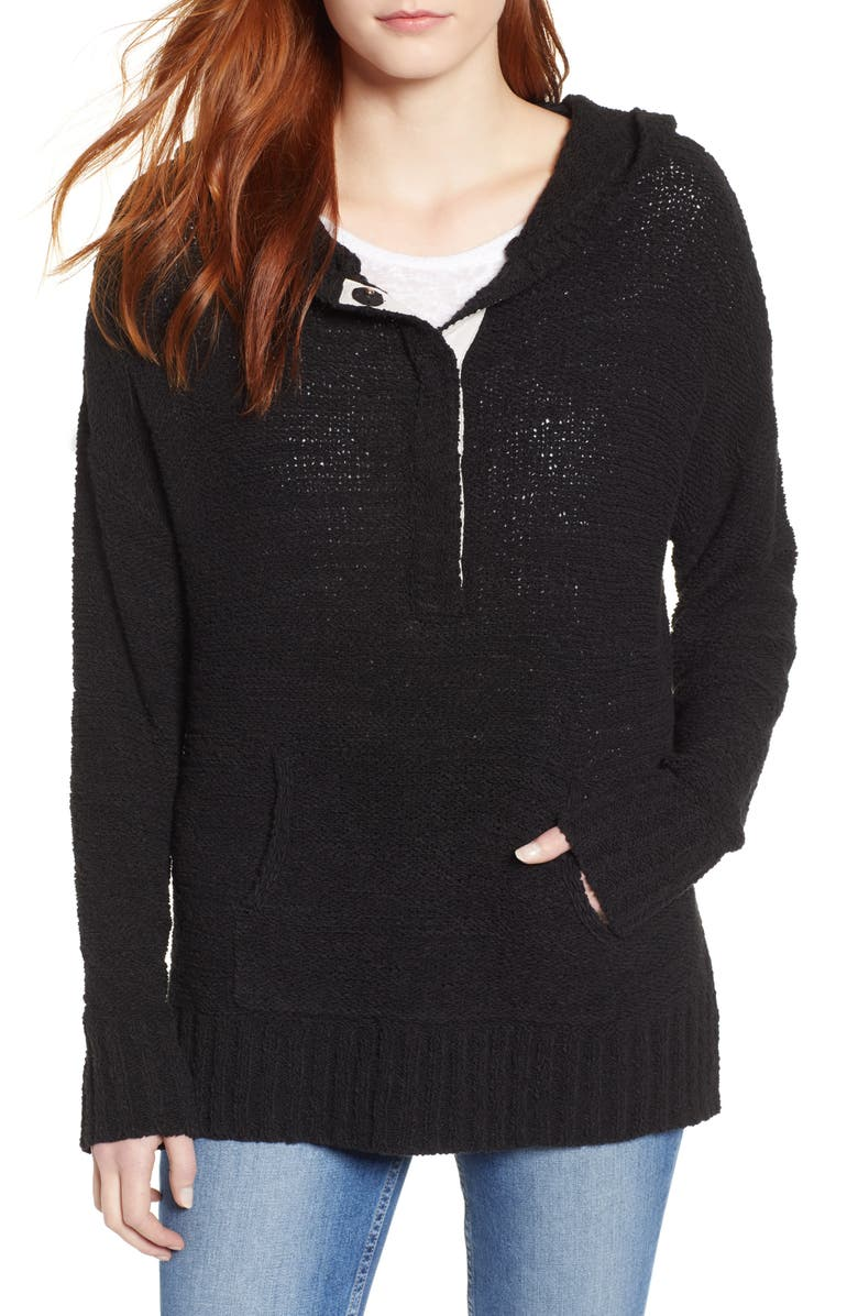 CASLON<SUP>®</SUP> Beachy Hooded Knit Sweater, Main, color, Black