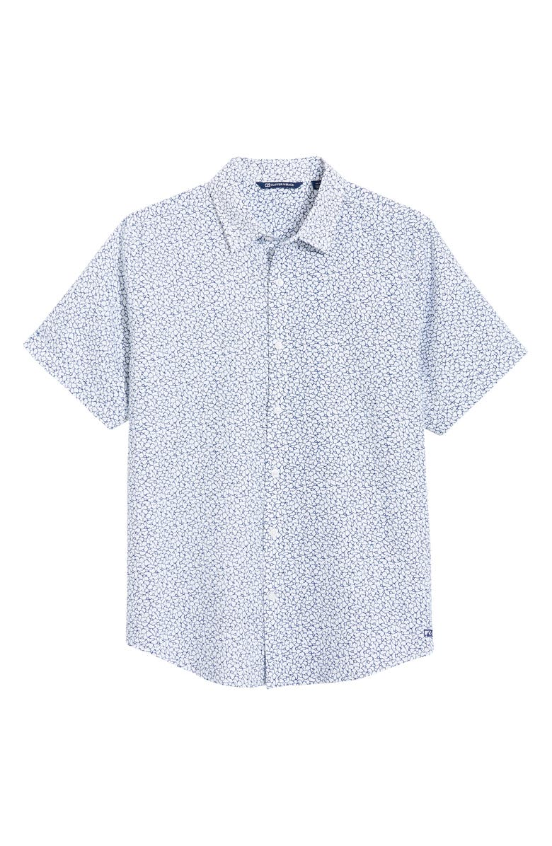 CUTTER & BUCK Windward Mineral Short Sleeve Button-Up Shirt, Main, color, INDIGO/ WHITE
