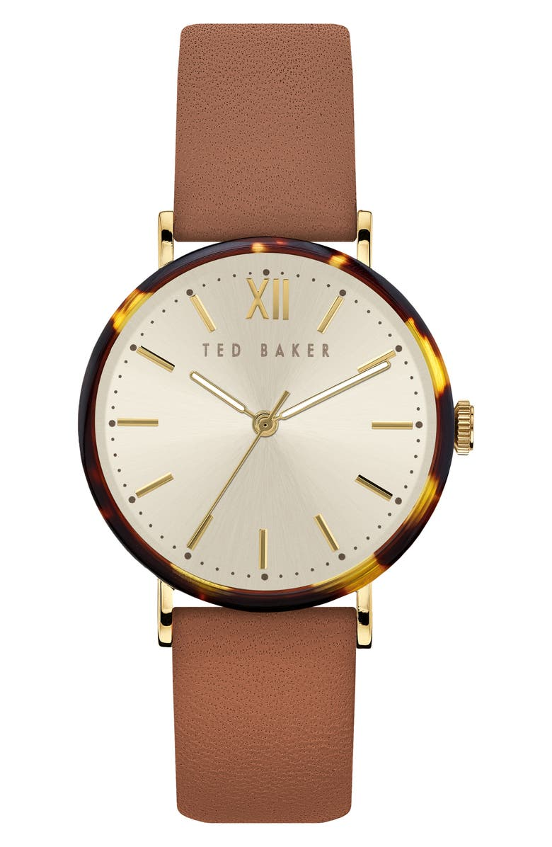 TED BAKER LONDON Phylipa Leather Strap Watch, 37mm, Main, color, TAN/ CREAM/ TORTOISE