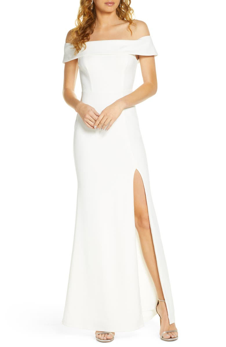 LULUS Off the Shoulder Mermaid Gown, Main, color, 100