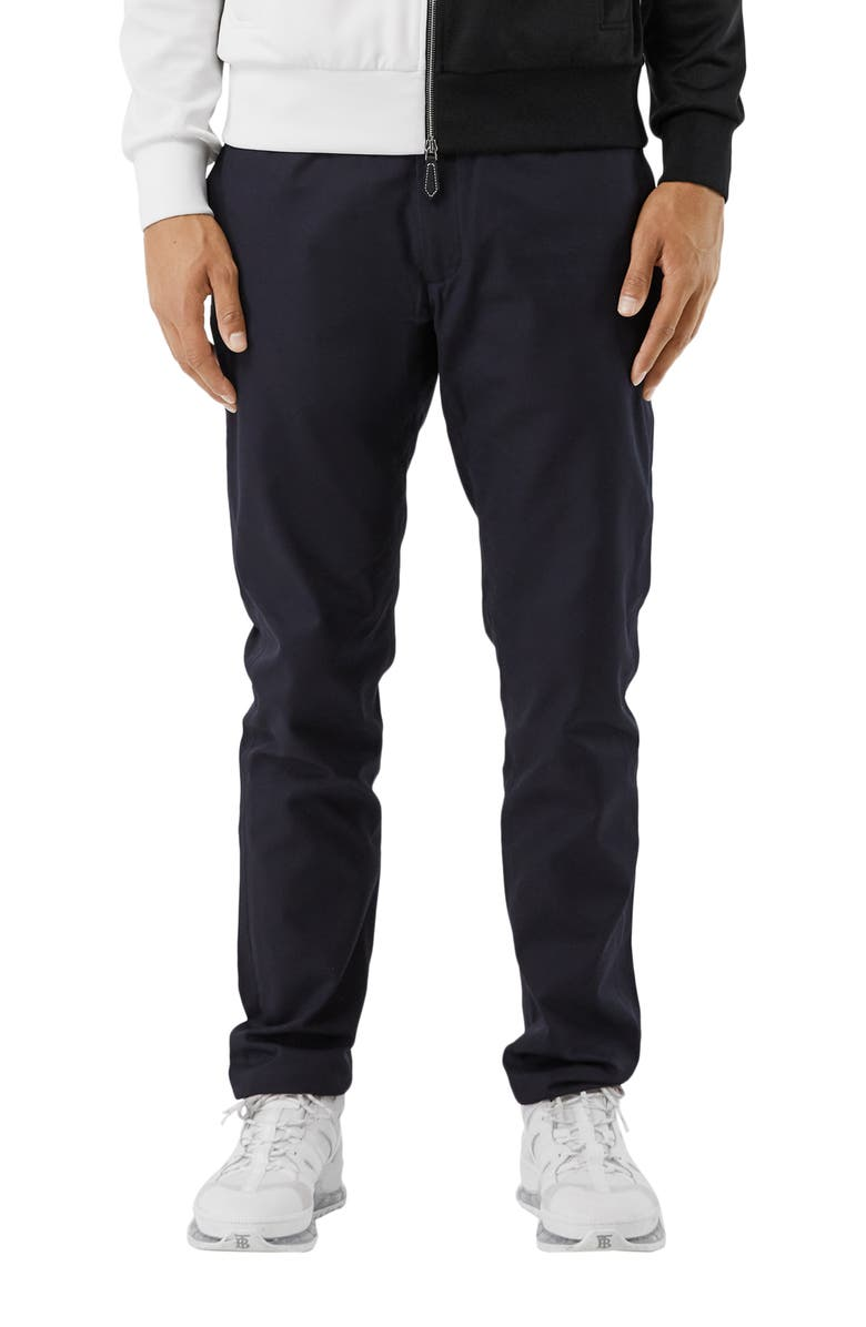 BURBERRY Shibden Chin Up Flat Front Chinos, Main, color, Blue