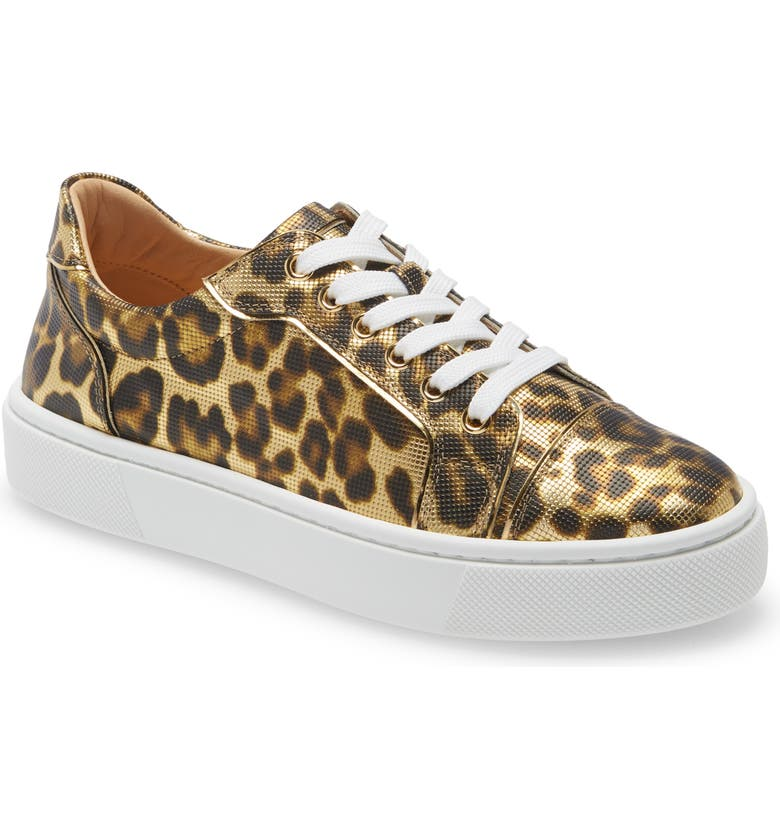 CHRISTIAN LOUBOUTIN Vieirissima Leopard Low Top Sneaker, Main, color, Gold
