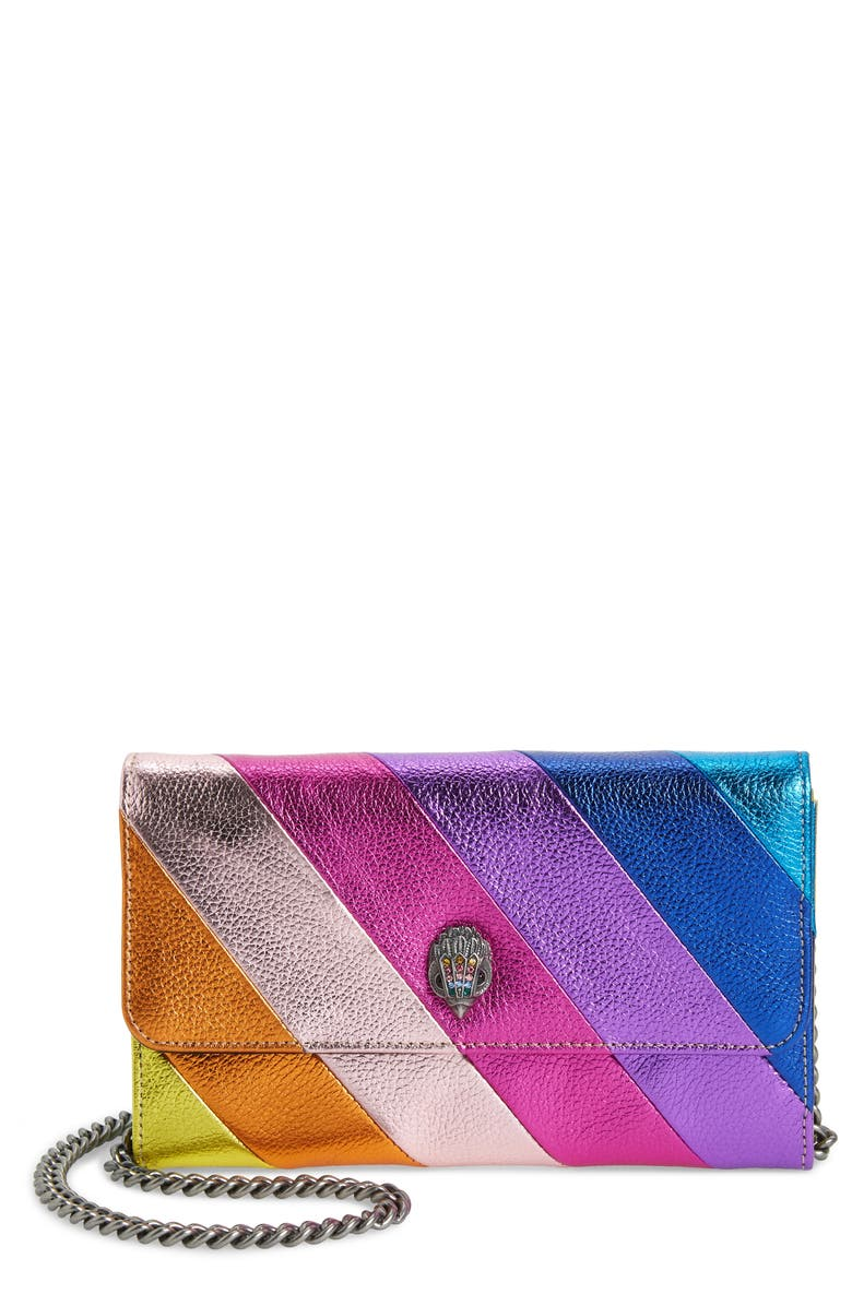KURT GEIGER LONDON Stripe Leather Chain Wallet, Main, color, MULTI/ OTHER