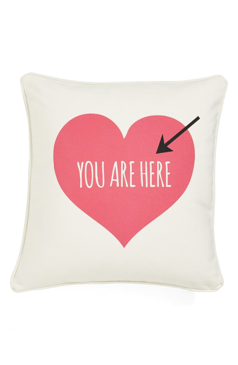 LEVTEX 'You Are Here' Pillow, Main, color, CREAM