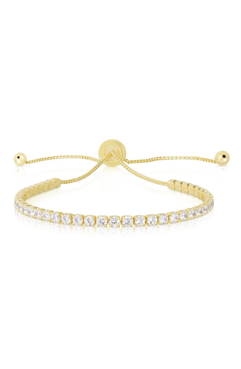 SPHERA MILANO 14K Yellow Gold Plated Sterling Silver CZ Tennis Bracelet, Main, color, YELLOW GOLD