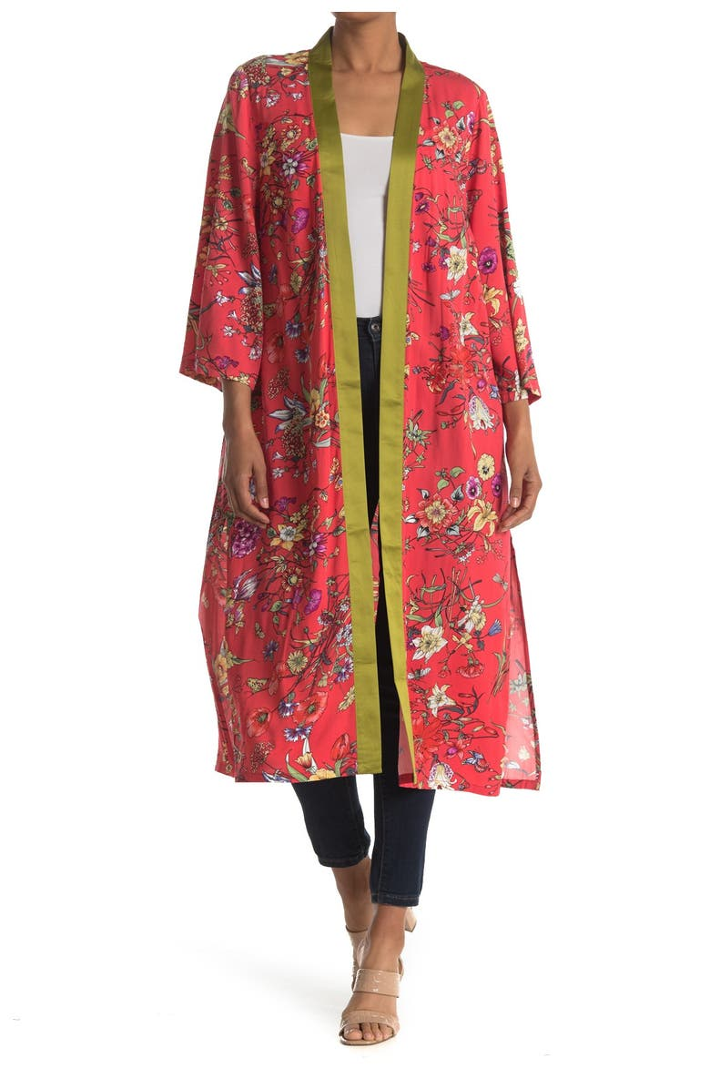 LOVE TOKEN 3/4 Sleeve Patterned Kimono, Main, color, CORAL