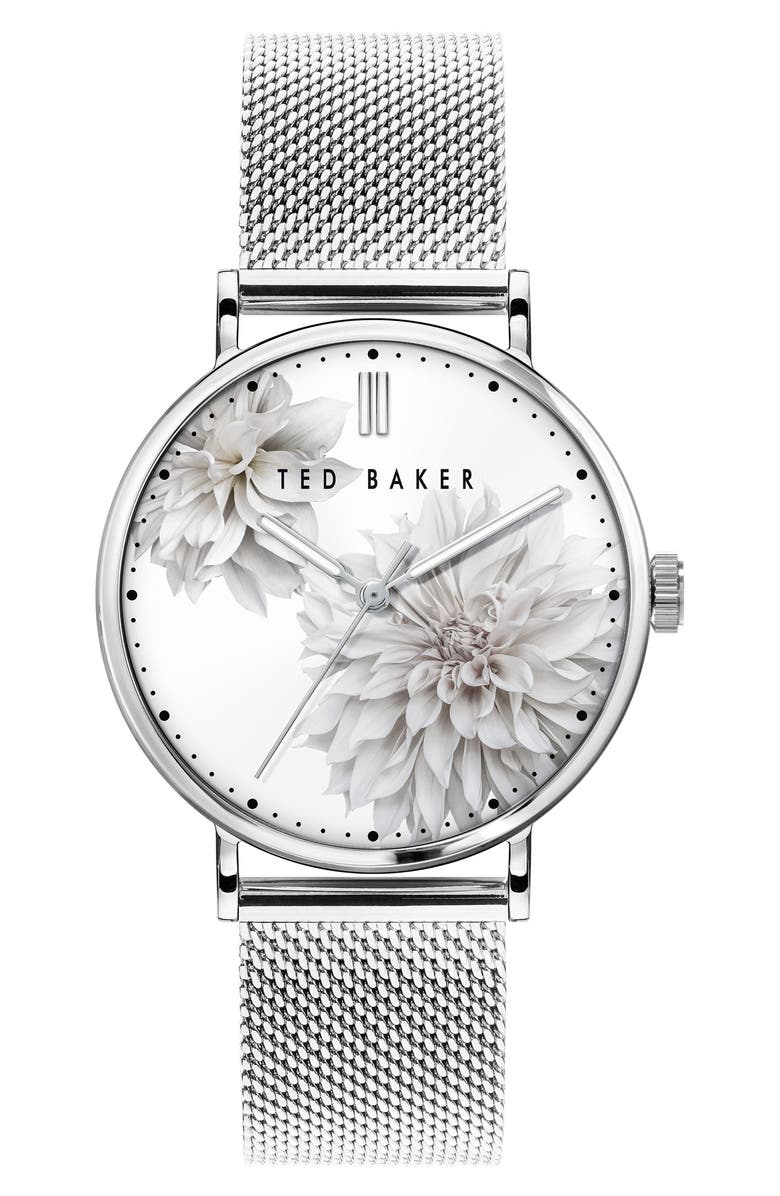 TED BAKER LONDON Phylipa Peonia Mesh Strap Watch, 37mm, Main, color, Silver