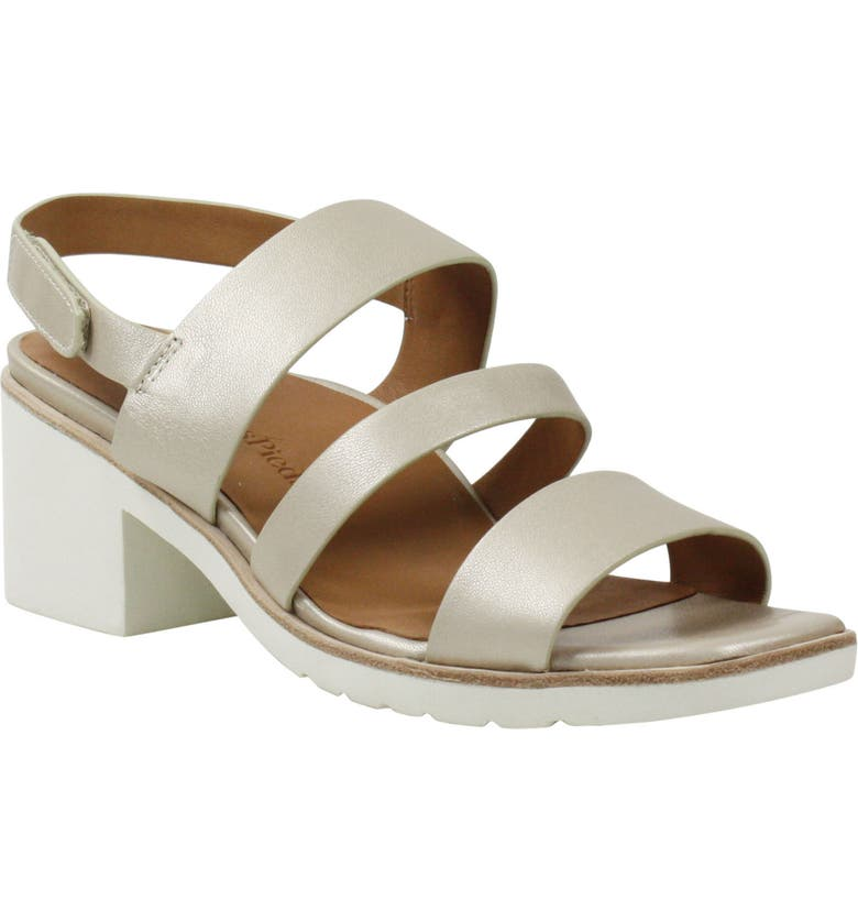L'AMOUR DES PIEDS Quennell Sandal, Main, color, PLATINO PEARLIZED LEATHER