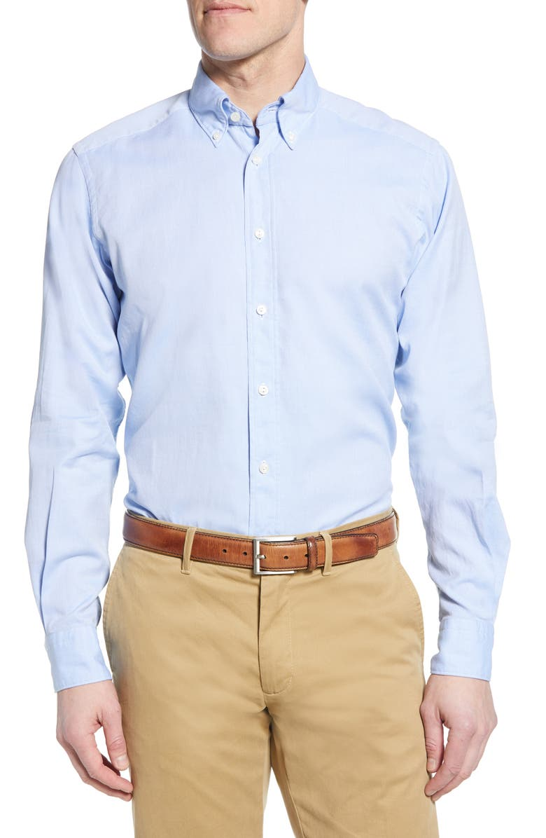 ETON Soft Casual Line Contemporary Fit Oxford Casual Shirt, Main, color, BLUE