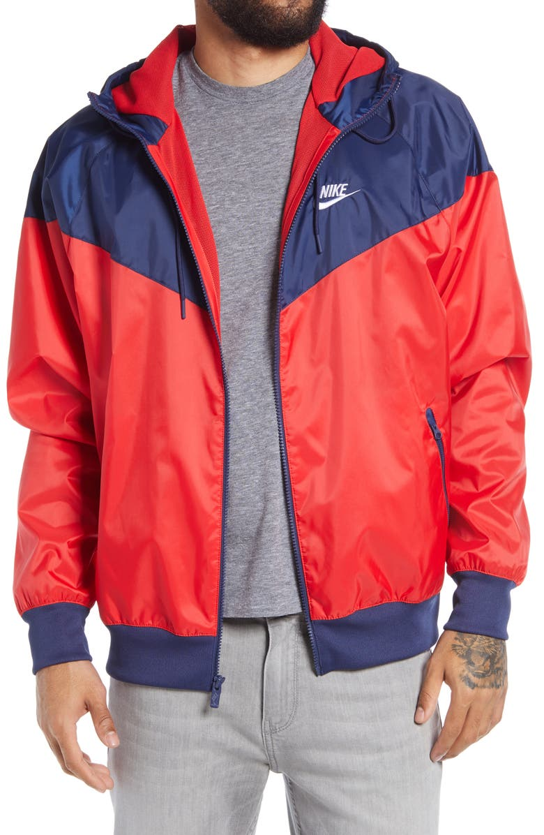 NIKE Sportswear Windrunner Jacket, Main, color, RED/ MIDNIGHT NAVY/ WHITE
