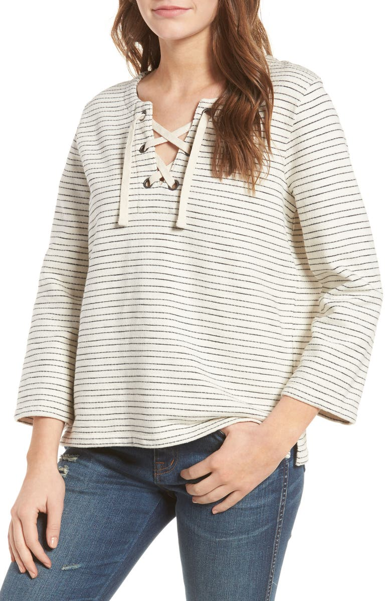 MADEWELL Stripe Lace-Up Top, Main, color, 900