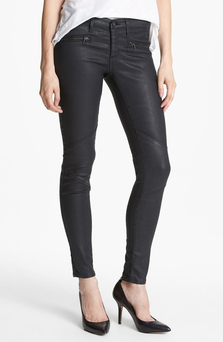 AG 'The Motto' Coated Ankle Leggings, Main, color, 011