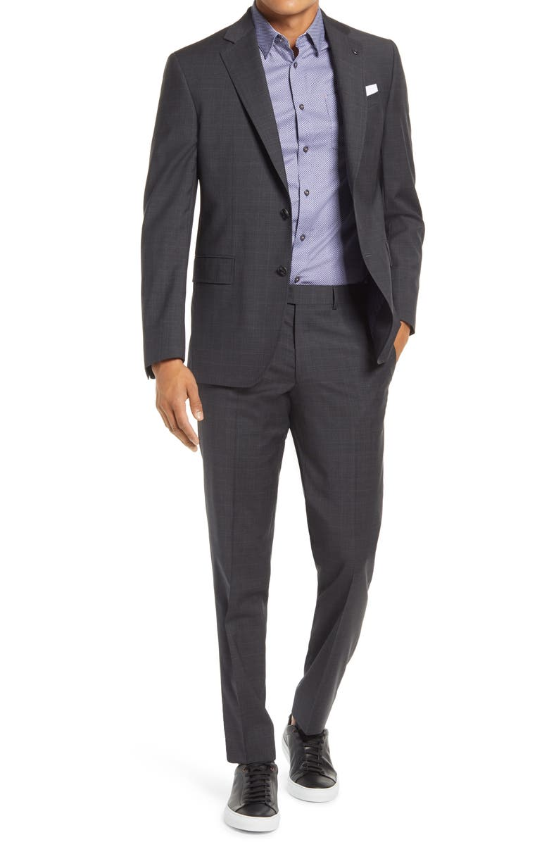 TED BAKER LONDON Jay Trim Fit Plaid Wool Suit, Main, color, CHARCOAL