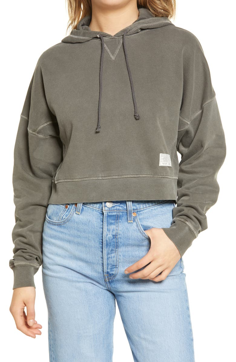 BDG URBAN OUTFITTERS Slouchy Crop Hoodie, Main, color, CHARCOAL