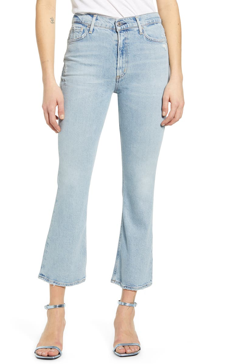 CITIZENS OF HUMANITY Demy Distressed Crop Flare Jeans, Main, color, IMAGINE