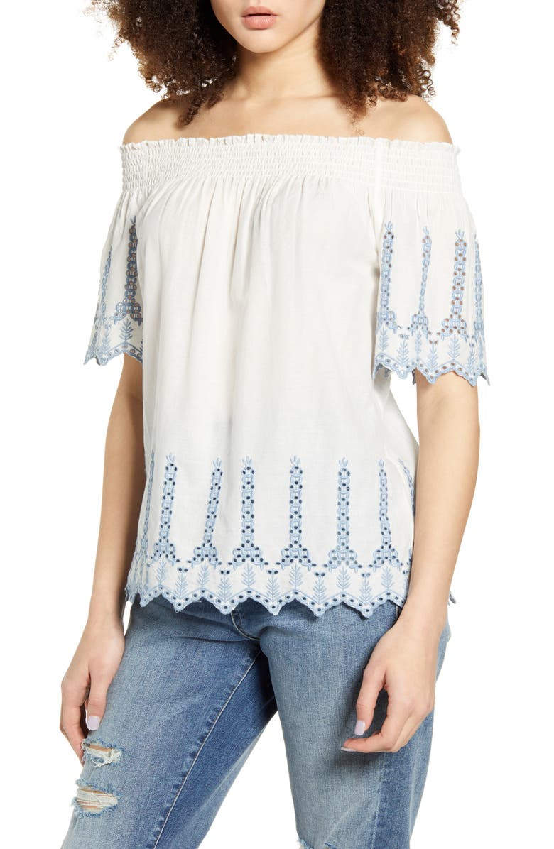ONLY Shery Contrast Embroidery Off the Shoulder Top, Main, color, CLOUD DANCER FADED DENIM