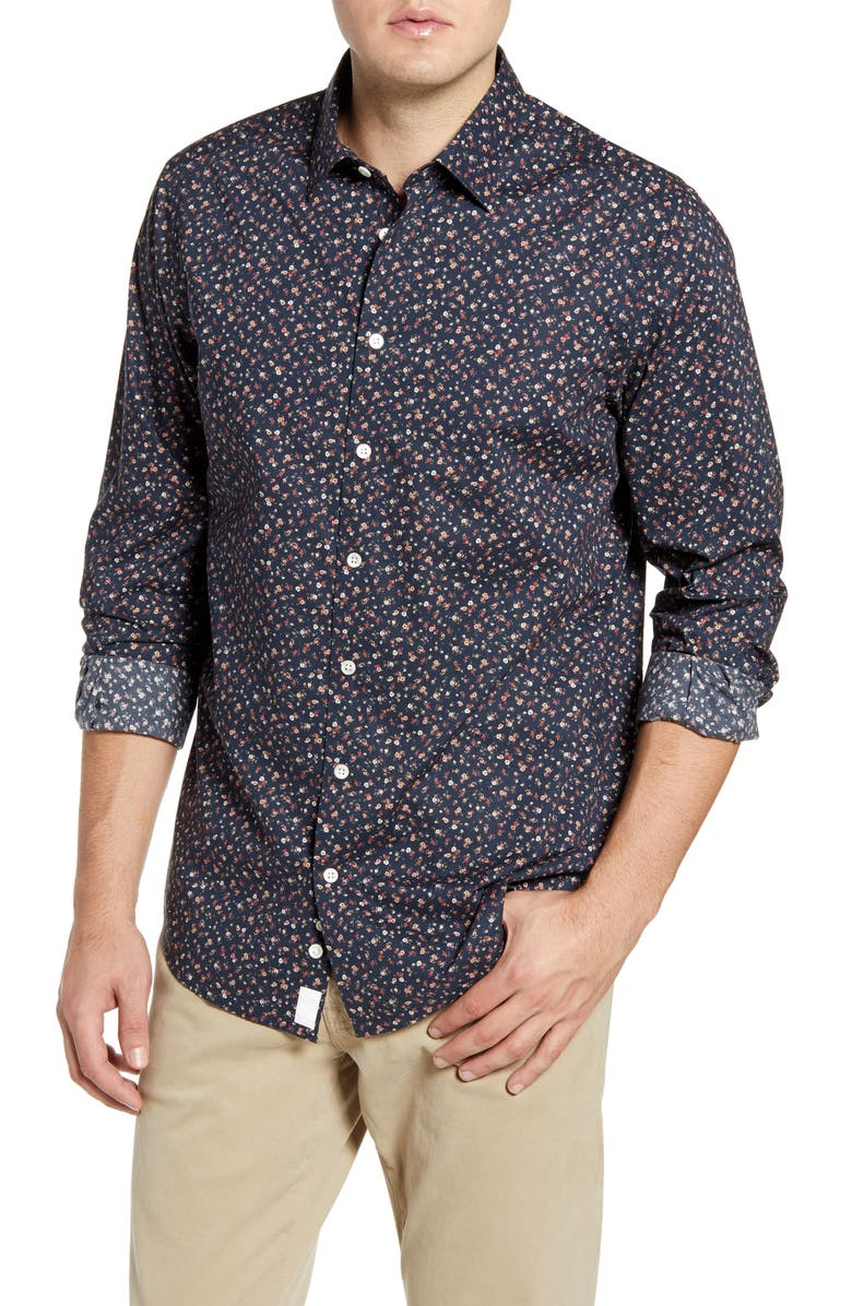RODD AND GUNN Knights Point Regular Fit Floral Button-Up Sport Shirt, Main, color, MIDNIGHT