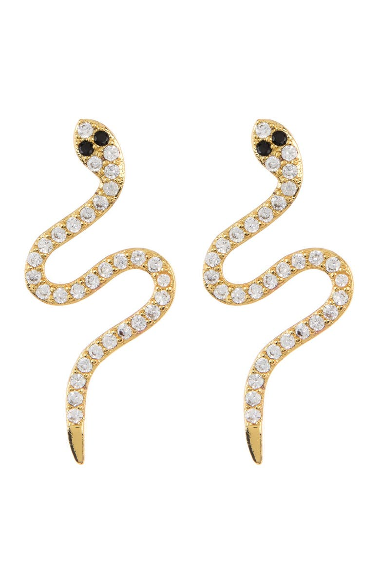 ADORNIA 14K Gold Plated Sterling Silver Swarovski Crystal Snake Stud Earrings, Main, color, YELLOW